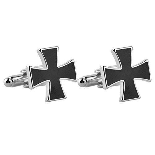 Enamel Cross Cufflinks - MayLove Religious Cross Black Enamel Cufflinks For Men Unique Business Wedding