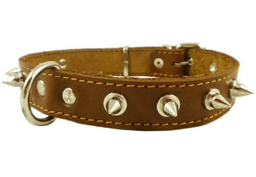 Real Leather Brown Spiked Dog Collar Spikes, 1″ Wide. Fits 14″-17″ Neck, Medium Breeds, My Pet Supplies