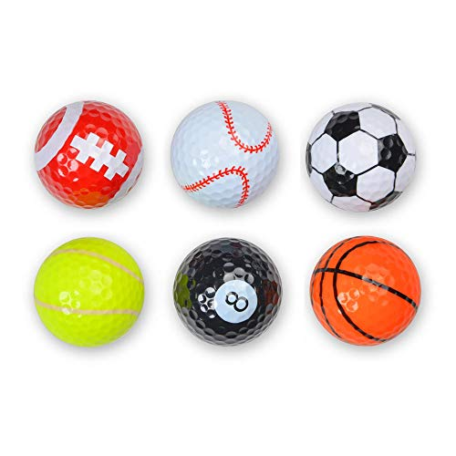 Shuzhu Assorted 6 PCS Golf Balls (Basketball, Football, Volleyball,Tennis, Baseball, 8-Ball) Double-Layer Construction 75% Strong Resilience Force Sports Practice Novelty Balls Golf Balls Gift]()
