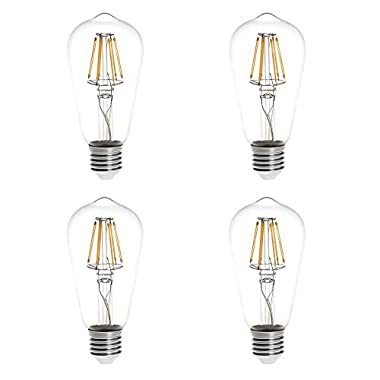 HERO-LED ST18-DS-6W-WW27 ST18 E26/E27 6W Edison Style LED Vintage Antique Filament Bulb, 60W Equivalent, Warm White 2700K, 4-Pack(Not Dimmable)