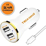 Tech Sense Lab (Australia) CE & FCC Certified 3.4 Amp Dual Usb Car Charger, Compatible with all Mobiles & Tablets (White &Gold)
