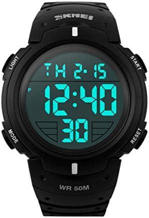 Watch, Mens Watch, Multifunction Digital LED Watch Waterproof Analog Sport Watch for Men Date Alarm Leather Wrist Watch