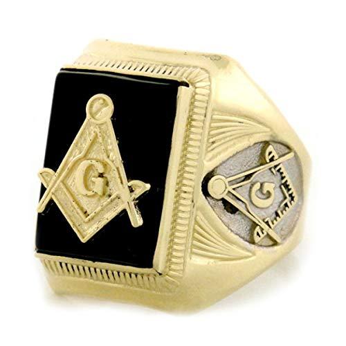 (Jewelry Liquidation 10k Gold Two-Tone Onyx Masonic Mens Ring)