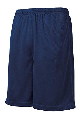 Joe's USA - Men's Moisture-Wicking Long Mesh Shorts, Pockets-True Navy-XL