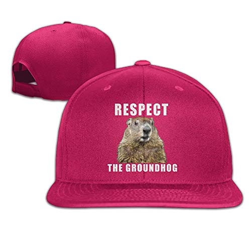 (Unisex Woman's Man's Respect The Groundhog Daily Cotton BoysHat Red)