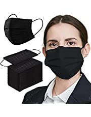 Black Face Mask Disposable 100 PCS 3 Ply Filtration Face Protection Mouth Cover Breathable Safety Masks for Women Men