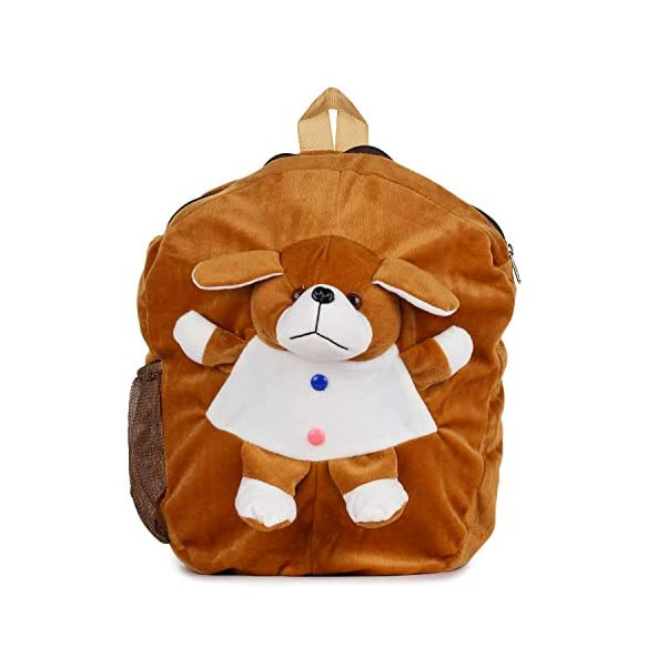 Brands Bucket Soft Plush Fabric Multicolour Printed School Bag for Baby Boys and Girls::BB-00026BROWN