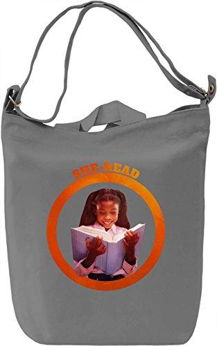She Read Borsa Giornaliera Canvas Canvas Day Bag| 100% Premium Cotton Canvas| DTG Printing|