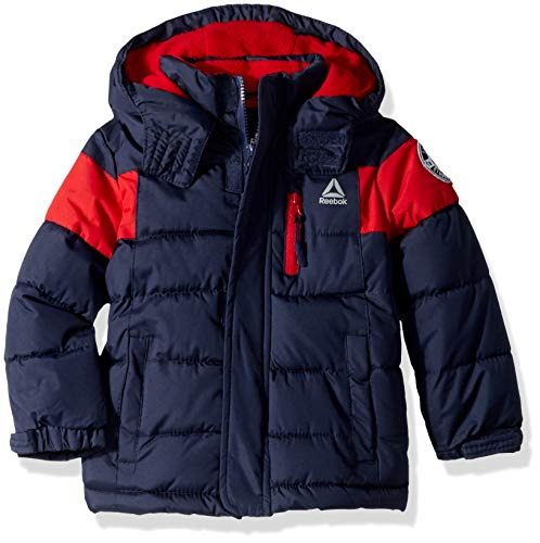 (Reebok Boys' Big Active Bubble Puffer Jacket, Navy, 10/12)