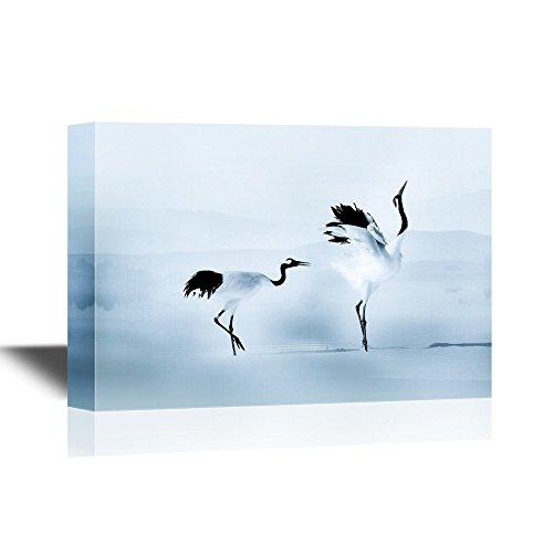 wall26 - Canvas Wall Art - Asian Crane Bird Traditional Watercolor - Gallery Wrap Modern Home Decor | Ready to Hang - 12x18 inches