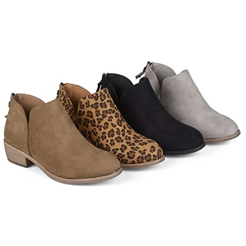 Up Stacked Chunky Zip Ankle 2 Almond Heel Boots Cutout Womens brown Boots Toe Low Booties qp4PvHwz