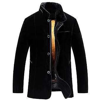 Men's Winter Golden Mink Fur Lined Coat Black Mink Fur