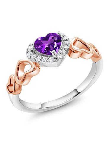 Gem Stone King 0.56 Ct Heart Shape Purple Amethyst 925 Sterling Silver and 10K Rose Gold Ring (Size 9)