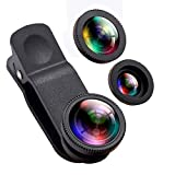 Phone Camera Lens,Oande 3 in 1 Fisheye Lens & 10X Macro Lens &0.65X Wide Angle Lens,Cell Phone Lens HD Camera Lens Kits Compatible iPhone 8/7/6s Plus/6s/5s and Other Devices