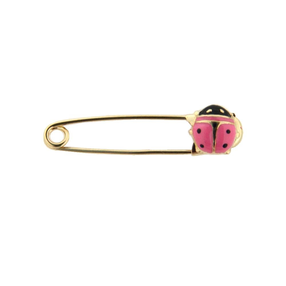 18K Yellow Gold Pink Lady Bug Safety Pin (27mm x 5mm)