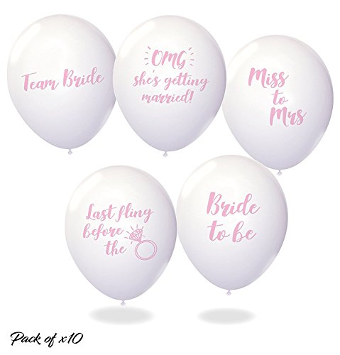Bachelorette Party Balloons - Pack Of 10 Mixed White & Pink Funny Classy Bride To Be Balloons