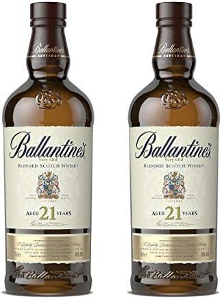 Ballantines 21 años Blended Scotch Whisky - Juego de 2 Botes de Whisky, Alcohol, 40%, 2 x 700 ml