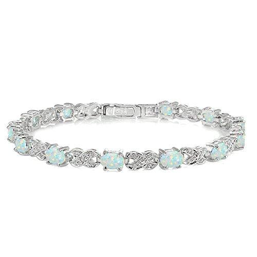 Bracelets Opal Oval (Sterling Silver Created White Opal Infinity X & Oval Tennis Bracelet)