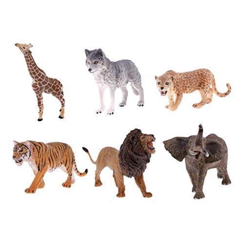 Perfk 6点セット 子供 遊び おもちゃ コレクション 野生動物モデル フィギュア 模型 知育玩具の商品画像