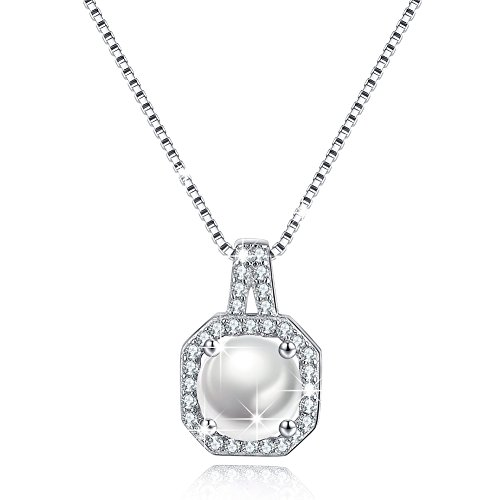 Solitaire Sterling Silver Necklace Jewelry Cubic Zircon CZ Necklace Halo Pendant Simulated Pearl June Birthstone Anniversary Gifts for Her Gifts For Girlfriend Wife Valentine's Day ()