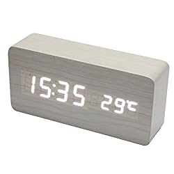 Voberry USB AAA Powered Rectangle Shaped Voice Control Blue Light Digital LED Wooden Desk Alarm Clock with Date Temperature (White)