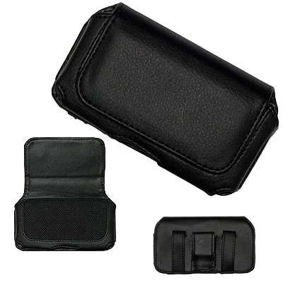 Executive Black Horizontal Leather Side Case Pouch with Belt Clip and Belt Loops for Samsung Omnia i900 i910, i908 / Samsung Instinct M800, M810, S30 / R800 Delve / EPIX i907 / Blackjack i617 / Jack i637 / Samsung Magnet A257, A177 / SGH-T349 [Perfect Fit by Accessory Export]