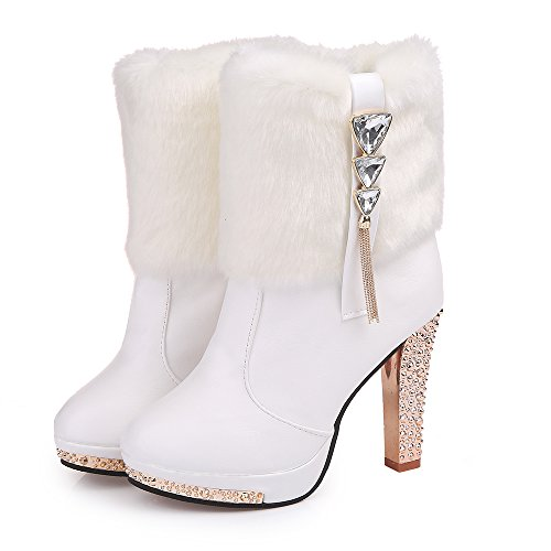 Orcworld Women's Rhinestone Faux-Fur Platform High Heel Booties Winter Snow Boots(White) US (Rhinestone Bootie Platform)