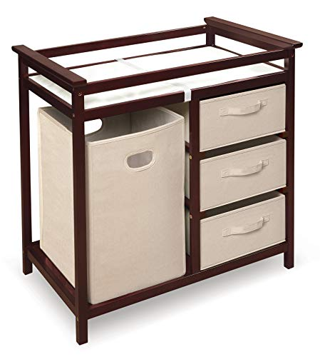 Buy Modern Baby Changing Table with Laundry Hamper, 3 Storage Baskets, and Pad