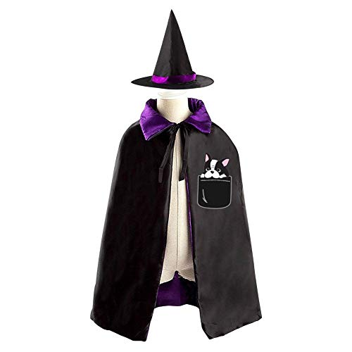 69PF-1 Halloween Cape Matching Witch Hat Pocket Dog Wizard Cloak Masquerade Cosplay Custume Robe Kids/Boy/Girl Gift Purple ()