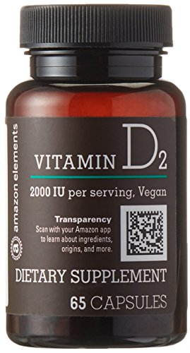 Amazon Brand - Amazon Elements Vitamin D2 2000 IU, Vegan, 65 Capsules, 2 month supply