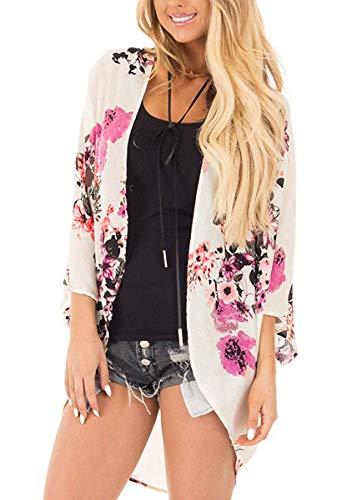 - Women's Floral Print Short Sleeve Shawl Chiffon Kimono Cardigan Casual Blouse Tops(Pink White XL)