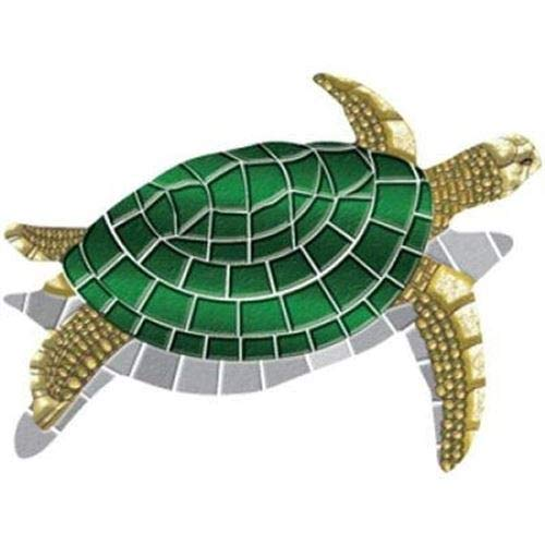 "Turtle Decorative Pool Mat - Mosaic Pool Emblem - 40"" by 30"" - Vinyl - Works in Most Pools - Easy Drop-in Installation"