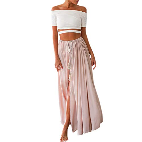 JJLIKER Women Summer Tie Waist Side Slit Flowy Skirt Beach Ankle Length Pleated Retro Maxi Chiffon Long Skirt Pink