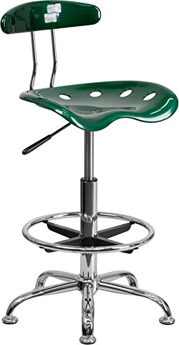 Vibrant Green & Chrome Drafting Stool with Tractor Seat - Shop Stool, Salon Stool by Belnick