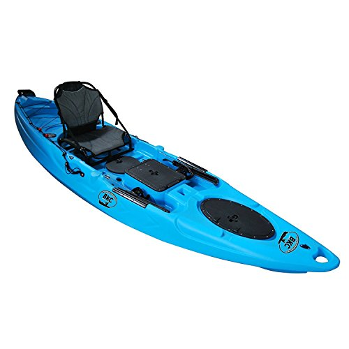 Brooklyn Kayak Company Bkc Uh-Ra220 11.5 Foot Riptide Angler Sit On Top Fishing Kayak with Paddles, Upright Chair and Rudder System Included, Sky Blue
