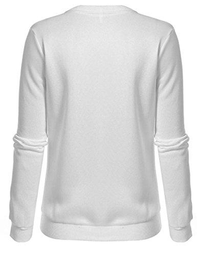 ... ZEARO Damen Pullover Hoodie Sweatshirt Langarmshirt Print Einfach  Rundhals Weiß Weiß wN1NKz3EcB ... ec2f6621f6