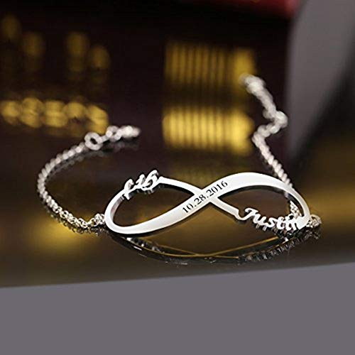 Ouslier Personalized 925 Sterling Silver Infinity Bracelet Custom Made with 2 Names & Dates (Rose Gold)