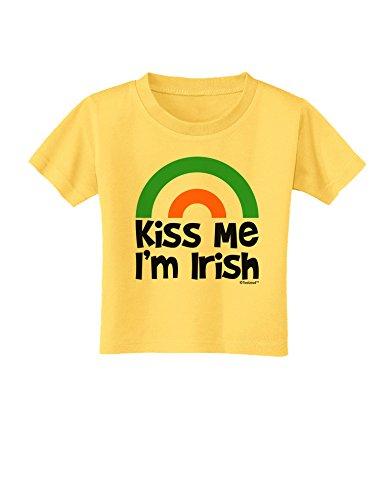 (TooLoud Irish Flag Rainbow - Kiss Me I'm Irish Toddler T-Shirt - Yellow - 4T)