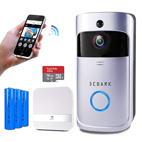 Debark Smart Video Doorbell Wireless Home WiFi Security Camera with Indoor Chime,3 Batteries, 2-Way Talk, Night Vision, PIR Motion Detection, APP Control for iOS Android Google ()