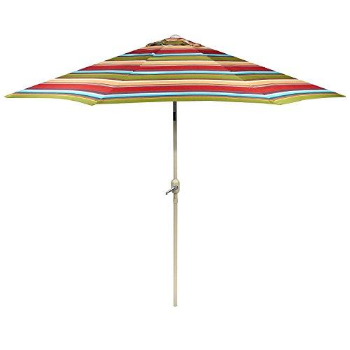 Nantucket 9 Foot Red/Orange/Blue Striped Market Umbrella/Crank / Tilt For Sale