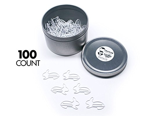 Rabbit Paper - Butler in the Home Bunny Rabbit Shaped Paper Clips Great For Paper Clip Collectors or Office Gift - Comes in Round Tin with Lid and Gift Box (White 100 Count)