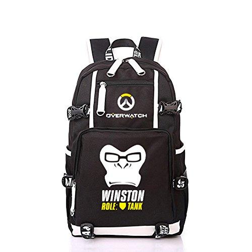 YOURNELO Unisex Leisure Overwatch High Capacity Canvas School Backpack Bookbag (H Winston) (Light 15 Winston)