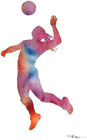 Volleyball Player Abstract Watercolor Painting Art Print by Artist DJ Rogers