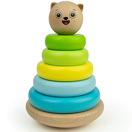 Bimi Boo Stacker Classic Toddler Toy (Developmental Toys for Kids, Superior Craftsmanship, 5 Wooden Pieces Colorful Smooth Stacking Rings, Solid Wood - Wooden Rings Toy