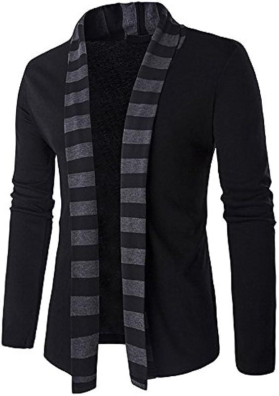 TEBAISE męska kurtka z dzianiny Open Jacke długa Cardigan Knit płaszcz dzianina kurtka Hoodie Hoody Sweatshirt Sweatblazer - casual: Odzież