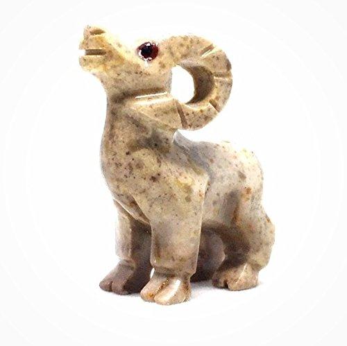 Statue Spirit American (Nelson Creations Ram Soapstone Animal Carving Charm Totem Figurine | 1.5