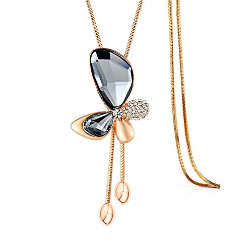 Merdia Long Chain Necklace Butterfly Pendant Sweater Necklace with Created Crystals Jewelry in Grey color ()