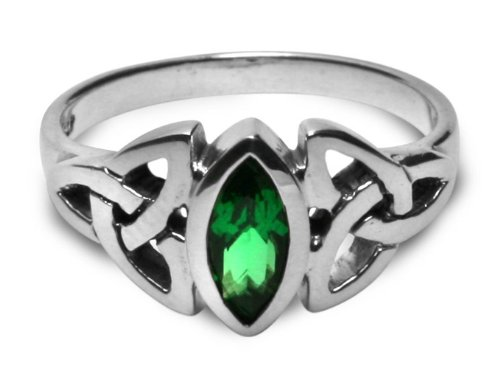 Peter Stone Triskele Marquise Emerald Ring - size 5