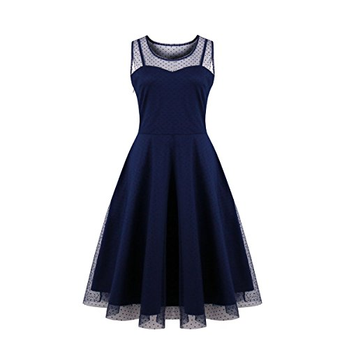 Kilolone Women's Vintage Sexy Plus Size Dress Excellent Gauze V-Neck Sleeveless Skirt (XL,Blue)