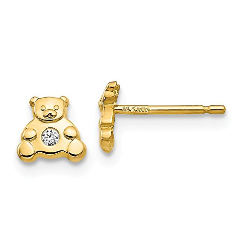 14k Yellow Gold Bear Cubic Zirconia Cz Post Stud Earrings Fine Jewelry Gifts For Women For Her